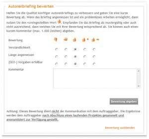 Autoren dürfen ab sofort die Briefings der Auftraggeber bewerten.