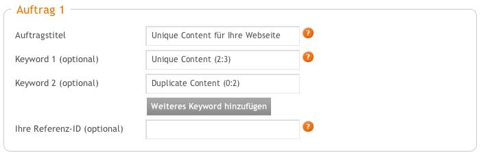 Vergeben Sie optionale Keywords.