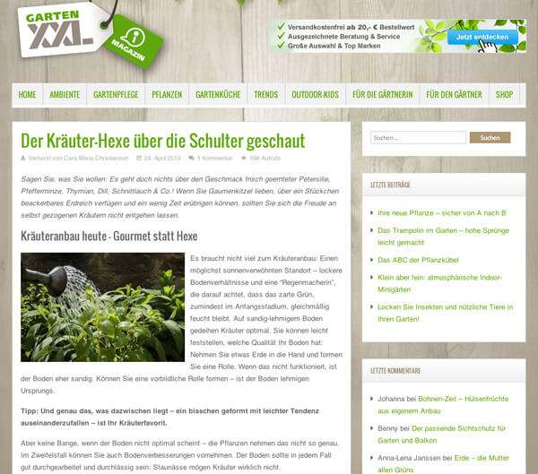 Content-Marketing von Garten XXL
