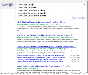 Google Suggest Hundefutter