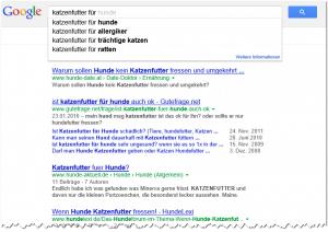 Google Suggest Katzenfutter