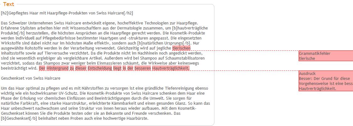 Anmerkungen zu einer Textbewertung bei content.de