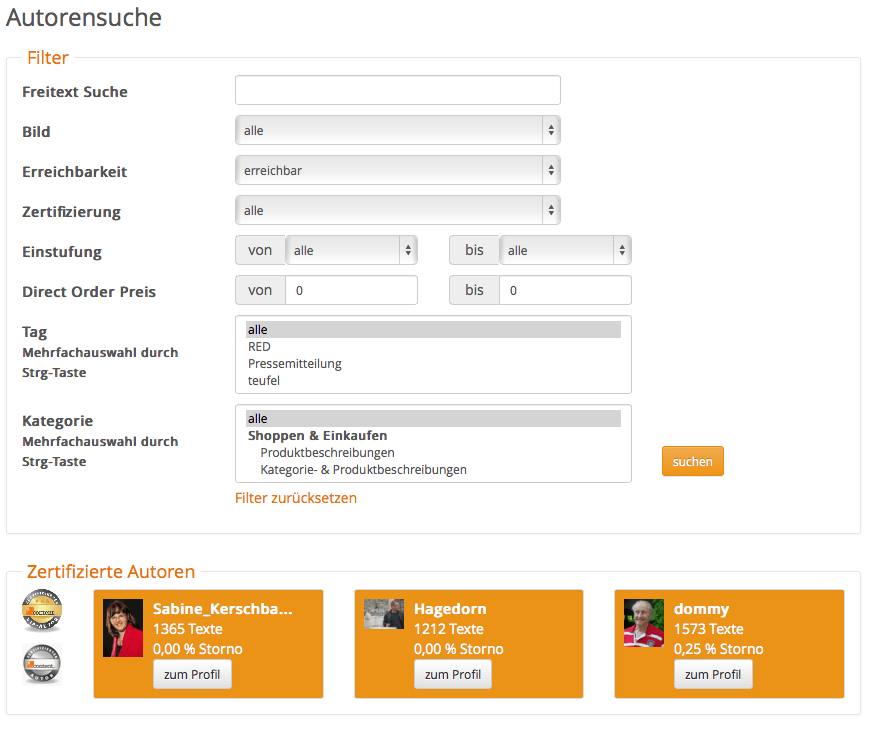 Freie Texter über content.de finden und beauftragen!