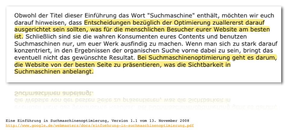 """Aussage aus dem Ebook """"Einführung in die Suchmaschinenoptimierung"""" - google.com"""