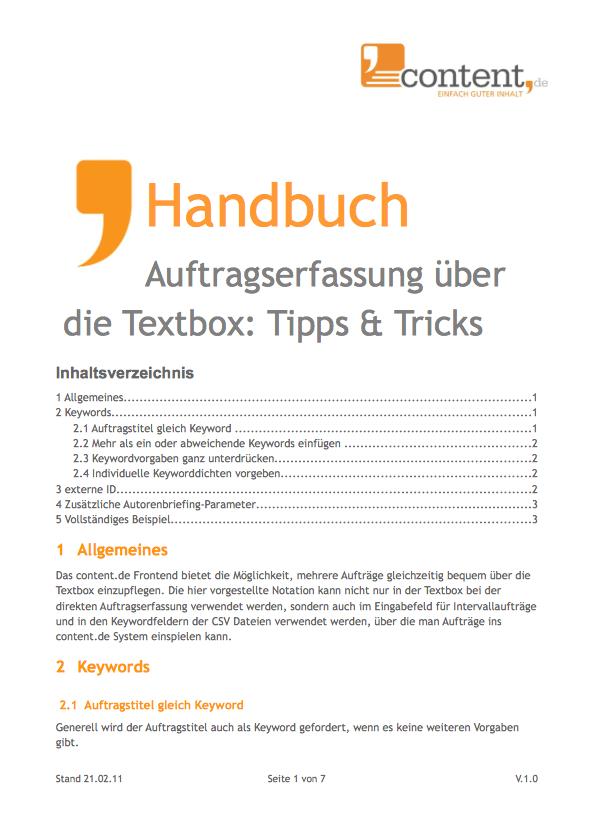 Texte kaufen: Beauftragung über die Textbox von content.de
