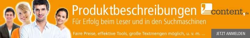Produktbeschreibungen bei content.de schreiben lassen