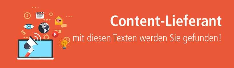 Content Lieferant für Webtexte, die in der Suchmaschine gefunden werden.