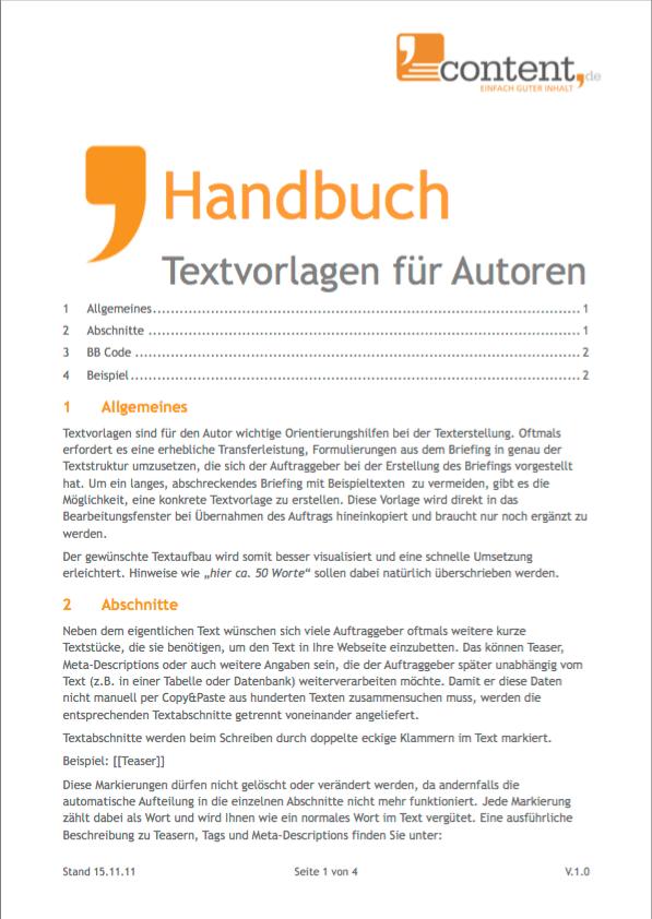 Handbuch: Arbeiten mit Textvorlagen bei content.de