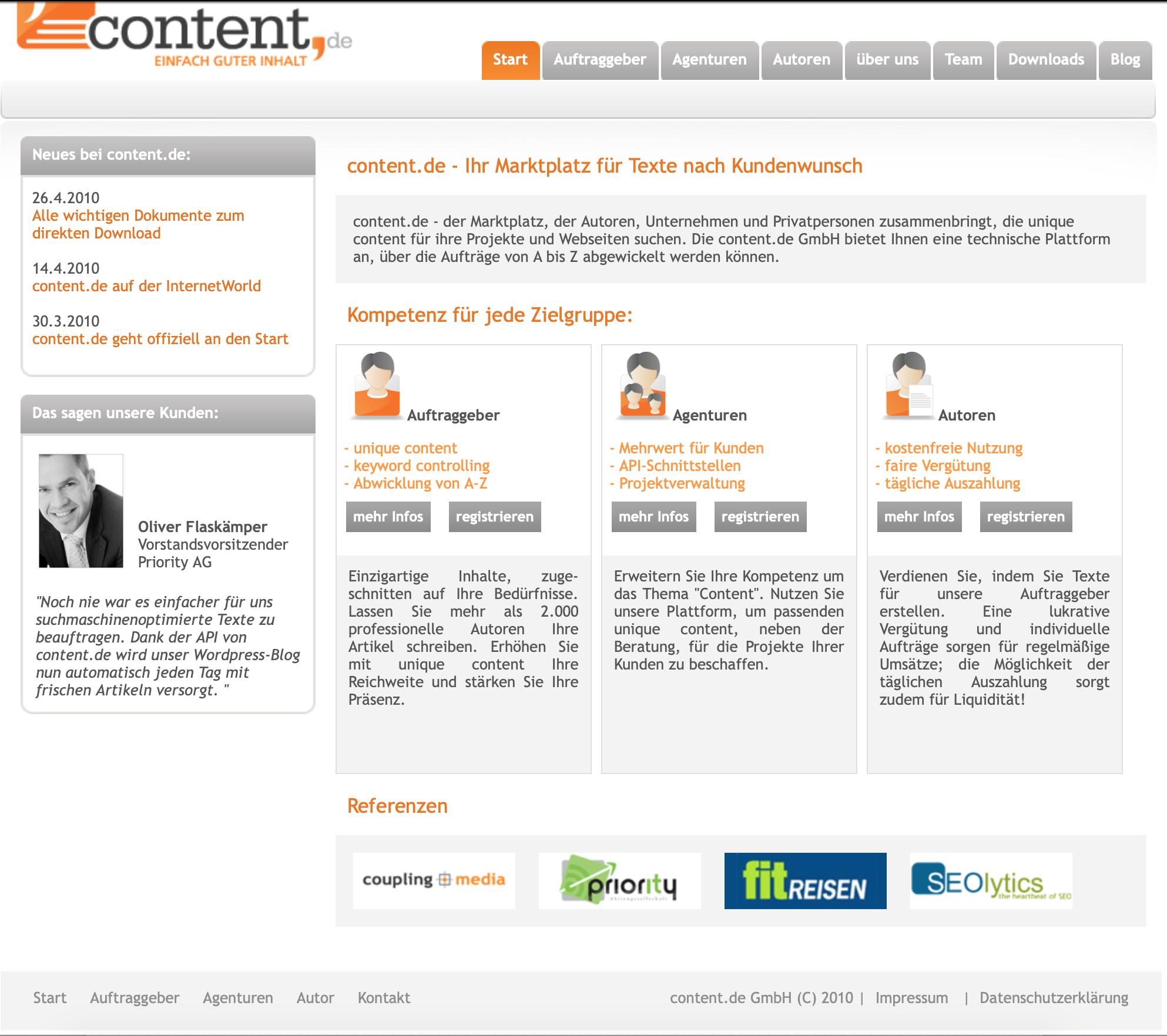 Startseite der content.de-Webseite von 2010