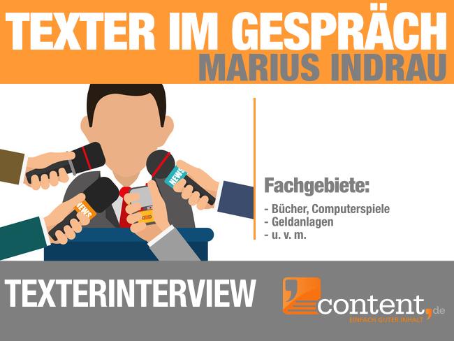 Texter Marius Indrau von content.de im Gespräch