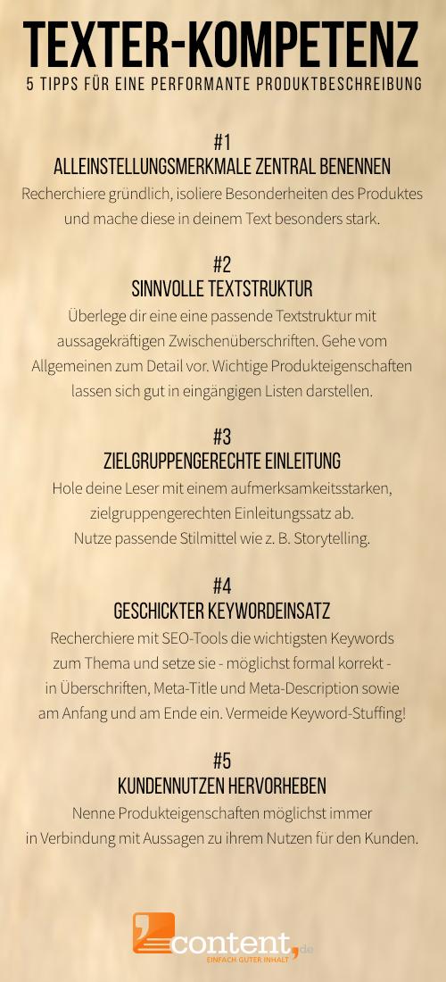 Infografik: 5 Tipps für performante Produktbeschreibungen - content.de